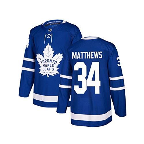 WANGP Herren Eishockey Trikots Toronto Maple Leafs 44 Rielly 88 Nylander Genähte Buchstaben Zahlen Langarm T-Shirt Atmungsaktive Sweatshirts,C34-Large