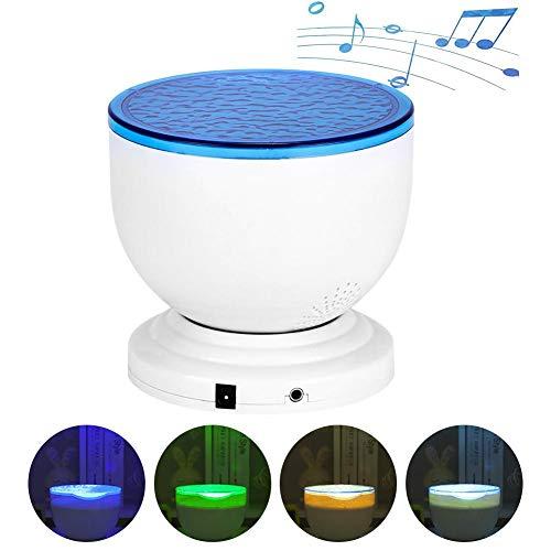 Ocean Wave LED Proyector Luz de noche,Lámpara de proyector submarino Luz de humor,Lámpara de proyector cielo estrellado con reproductor de música para fiesta de bodas Decoración dormitorio niñas
