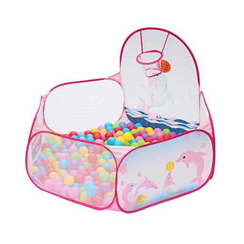 Greatangle-UK Bolas de Delfines para bebés Plegables Piscina Interior al Aire Libre Niños Juego de Juguetes para bebés Casa de Juegos Regalo para niños Tienda de campaña con Marco de Bolas Rosa