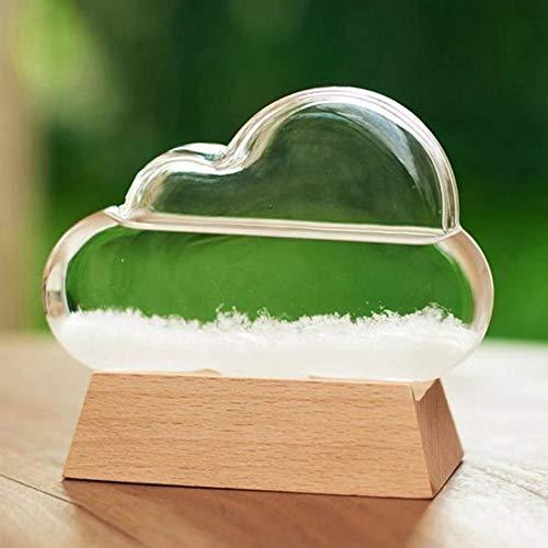 Wettervorhersage-Flasche Innovatives Geschenk,Awhao kreative Cloud Storm Crystal Weather Predictor Flasche mit Holzsockel, Desktop Weather Predictor Wassertropfen für Heim und Büro Dekoration