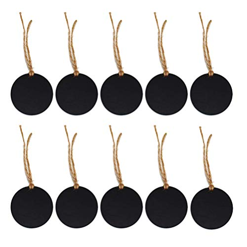 LIXBD Mini-Kreidetafel-Etiketten, rund, zum Aufhängen, doppelseitig, mit Hanfseil, für Bastelarbeiten, Heimdekoration, 10 Stück (Farbe: schwarz)