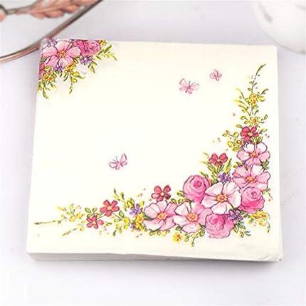 Onsinic 20pcs / Pack Flores Rosas diseño de la Belleza servilletas de Papel Tissue Servilletas Decoupage decoración de Papel Cafe & Party Vajilla