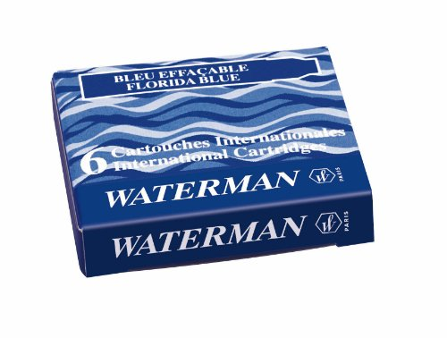 Waterman Tintenpatronen, internationale Größe, 6 Stück Serenity Blue