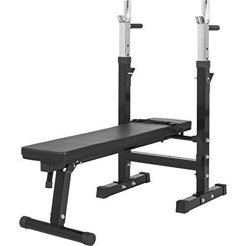Gorilla Sports Weight Bench with Adjustable Barbell Rack Black/White Colour Black