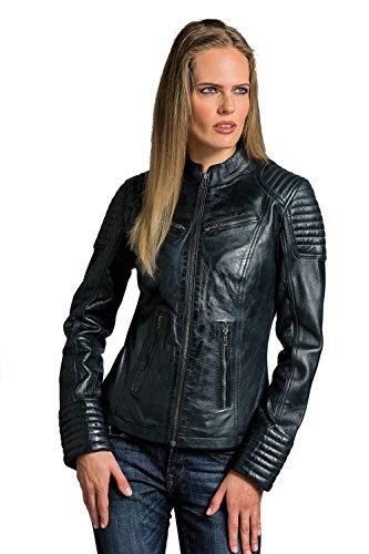 Urban Leather Corto Biker - Chaqueta de piel, Mujer, marrón, small