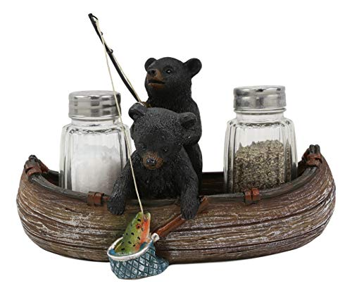 Ebros Gift 7' Wide Rustic Forest 2 Black Bear Siblings Fishing Bass With Net And Rod In Canoe Boat Glass Salt And Pepper Shakers Holder Statue Kitchen Dining Centerpiece Figurine