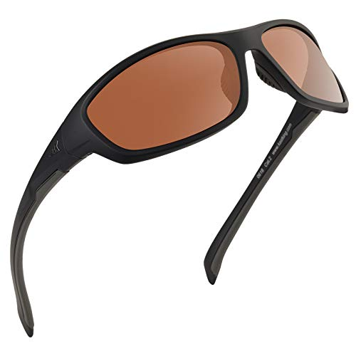 KastKing Hiwassee Polarized Sport Sunglasses for Men and Women, Matte Blackout Frame,Copper Lens