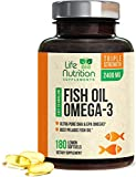 Fish Oil 2400 mg, Triple Strength Omega-3 Fish Oil Supplement with Epa and Dha, Made in USA, Support Heart Health, Natural Lemon Flavor, Non GMO - 180 Softgels