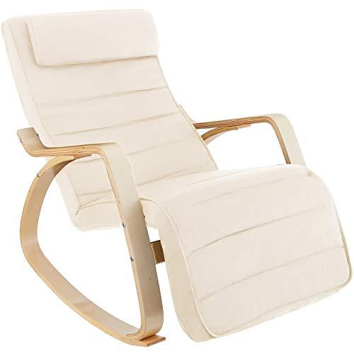 tectake 800795 Schaukelstuhl aus Birkenholz, Schwingsessel mit 5-Fach Verstellbarer Fußstütze, belastbar bis 150 kg, Relaxsessel für...