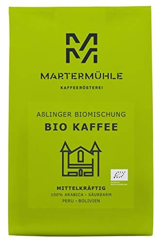 Martermühle   Bio Kaffee Aßlinger Biomischung (500g)   Ganze Bohnen   Premium Kaffeebohnen aus Peru, Bolivien   Schonend geröstet   Kaffee säurearm   100% Arabica