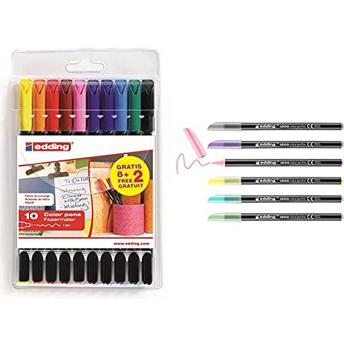 Edding 1200-8 + 2s bolsa con 8 rotuladores + 2 de regalo + 1200 rotulador de color de trazo fino juego de 6 colores pastel punta redonda 1 mm