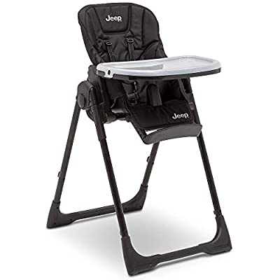 Jeep Classic Convertible 2-in-1 High Chair for Babies and Toddlers with Adjustable Height, Recline & Footrest - Dishwasher Safe Meal Tray, Midnight Black