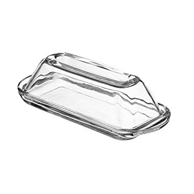 Fisher Modern Glass Butter Dish (Oval) Smooth Crystal Cover, Elegant Home and Kitchen Décor Design | Countertop, Refrigerator, Dining Table Use | Dishwasher Safe