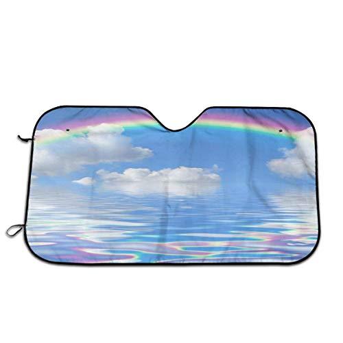 Arco Iris Nube Reflejo de Agua Parabrisas automático Sombrilla Ventana Delantera del Coche Sombrilla Lámina de Doble Burbuja Jumbo Sombrilla Plegable 140X76Cm
