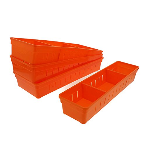 Cheftor Plastic Storage Drawers Drawer Organizers with Dividers for Stationery, Makeup, Silverware, set of 4 (Orange)
