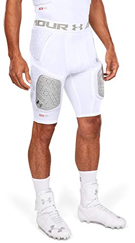 Under Armour Gameday Pro 5-Pad Football Compression Girdle/ Shorts, Football Padded Shorts, Youth & Adult sizes, White, Adult - Medium