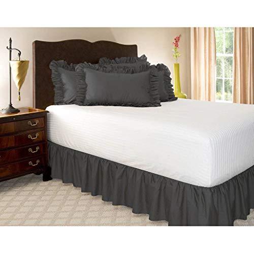 Pliegues de cama elásticos alrededor de la falda de la cama, volantes de polvo plisado Cubre Canapé Medidas canapé Faldón de volantes con banda Cubre unda de somier Colcha-Negro-COMPLETO:135*200Cm
