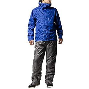 レインスーツ 上下 メンズ (耐水圧:10000mmH2O) (防水機能性) (一体型収納フード) (背面通気性機能) 【ウェア:マットブルー/パンツ:グレー】 ELサイズサイズ AS-8000