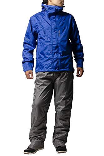 レインスーツ 上下 メンズ (耐水圧:10000mmH2O) (防水機能性) (一体型収納フード) (背面通気性機能) 【ウェア:マットブルー/パンツ:グレー】 Mサイズ AS-8000