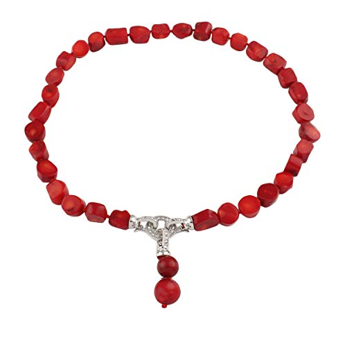 TreasureBay Hermoso collar de coral rojo natural con colgante