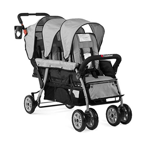 Foundations Triple Sport 3-Seat Tandem Stroller with Canopy, 5-Point Harness, Foot-Brake (Gray)