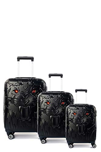 CCS Tiger Suitcase Durable 8 spinner wheels Travel Luggage Bag Trolley Lightweight Hardcase ABS (3Pcs FamilySet, Black)