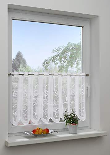 GARDINIA Bistrogardine mit Ösen, Transparente Schiebegardine, Borte, Weiß, 50 x 150 cm