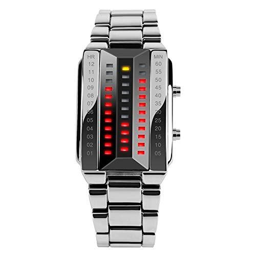 FeiWen Unico Binario Relojes de Pulsera de Hombre y Mujer Calendario Rojo LED Digitales Luminosidad Acero Inoxidable Negro Rectangular Fashion Casual Estilo Reloj, Plateado (Hombre)