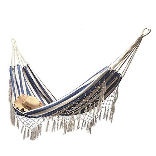TYXQ Hamacas Dobles Hamaca con borlas de Lona Cama para Acampar al Aire Libre para Acampar al Aire Libre Senderismo Hamaca con borlas Bohemias