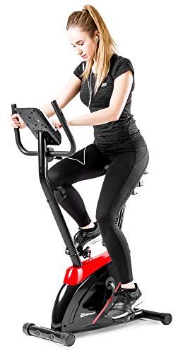 Hop-Sport Onyx Heimtrainer Fahrrad - Fitnessgerät für Zuhause mit Pulssensoren und Computer, 8 Widerstandsstufen, Schwungmasse 7 kg - Fitnessfahhrad für EIN max. Nutzergewicht von 120kg Rot