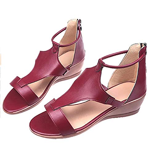 EEUK Orthopedic Open Toe Shoes for Women, 2021 Premium Comfy Summer Wedge Sandals, Soft PU Leather Platform Shoes Sandals