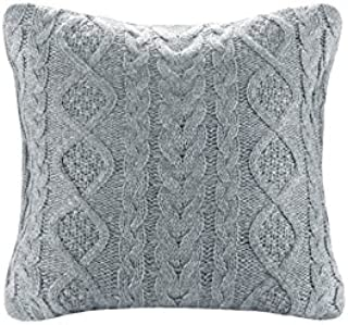 DOKOT 100% Cotton Knitted Decorative Cable Braid and Diamond Knitting Square Warm Throw Pillow Cover/Cushion Cover (Light Gray, (18x18 inches(45x45cm))