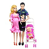 NXNTBE Doll Set Family Baby Toy Suit Happy Mom Dad Son Daughter Fashion Kid Toys Children Educational Toy Birthday Gift Accessories Children Dolls