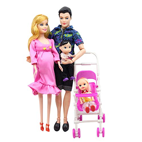 NXNTBE Pregnant Barbie Doll Set Family Baby Toy Suit Happy Mom Dad Son Daughter Fashion Kid Toys Children Educational Toy Birthday Gift Accessories Children Dolls with Stroller