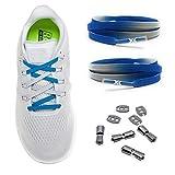 MAXX laces Flache elastische Schnürsenkel mit Einstellbarer Spannung Schuhbänder ohne Binden komfortable Schuhbinden einfach zu bedienen Passt zu jedem Schuh, Blau ombre, 120