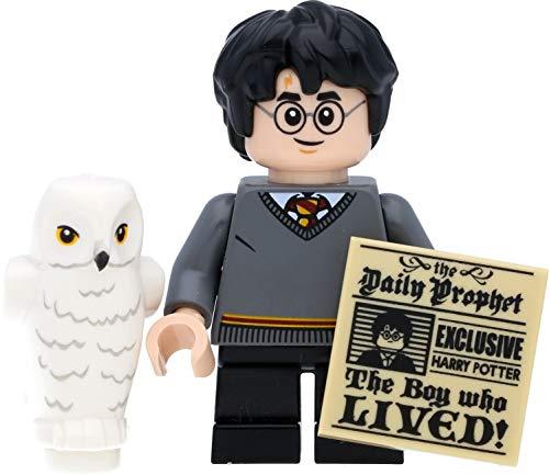 LEGO Harry Potter Minifigur Harry Potter als Kind mit Hedwig (Eule) und Tagesprophet
