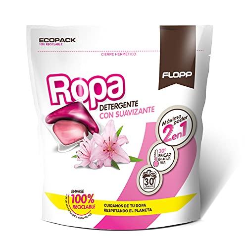 Flopp Detergente Con Suavizante En Cápsulas Para La Ropa Duo Caps 2en1 600 G, Rosa, 30 Unidad