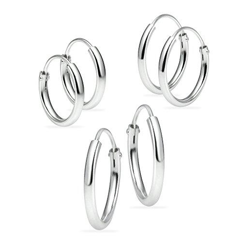 3 paia di orecchini a cerchio per naso, orecchie e labbra in argento, diametro 10 mm, 12 mm, 14 mm e Argento, colore: Argento, cod. 1MM SHS/3P