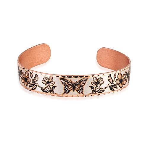 Pulsera de cobre hecha a mano para mujeres, adolescentes y niñas en la vida silvestre, diseño de mariposa ajustable