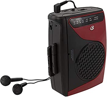GPX Portable Cassette Player 3.54 x 1.57 x 4.72 Inches Requires 2 AA Batteries - Not Included Red/Black  CAS337B  Black/Red