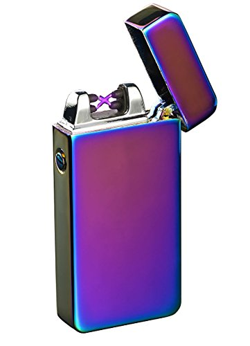 PEARL Elektro Feuerzeug USB: Elektronisches USB-Feuerzeug mit doppeltem Lichtbogen & Akku, violett (Elektrisches Feuerzeug USB)