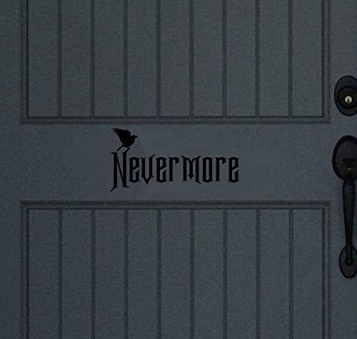 Yilooom Nevermore Decal, Raven Decal, Halloween Decor, voordeur, 12 inch in breedte