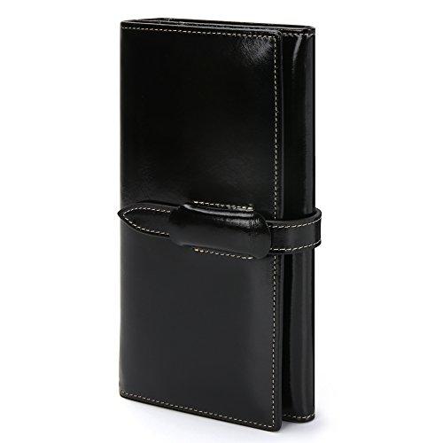 Damen Geldbörse Echtes Leder Geldbörse Damen Lang Luxus Geldbörse Große Kapazität 10 RFID Kartenfächer 5 Geldfächer 1 Reißverschlusstasche Brieftasche Damen Geldtasche mit feiner Verpackung