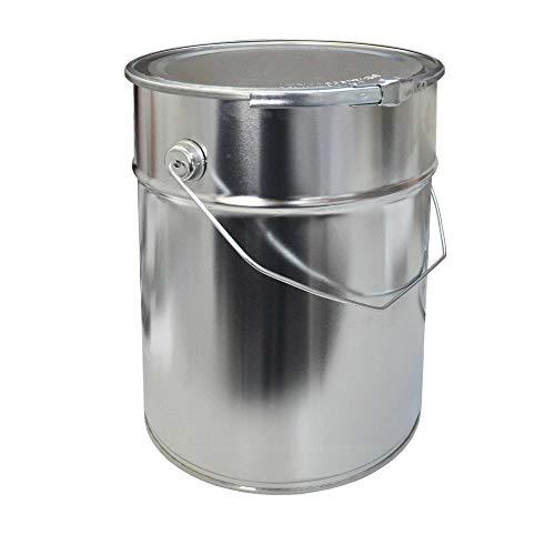 10 Liter Weißblecheimer Hobbock inkl. Deckel mit Spannring | Stabiler Metallgriff | Luft und Flüssigkeitsdicht | Robust und Stapelbar | Gefahrgut Tauglich | Verzinntes Stahlblech