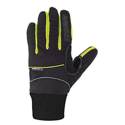 Chiba Herren Cross Windstopper Handschuhe, Black/Neon Yellow, Large