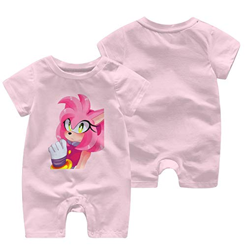 Zzuyt Sonic Amy Rose Toddler Baby Short Sleeve Jumpsuit Suit 0-24 Months