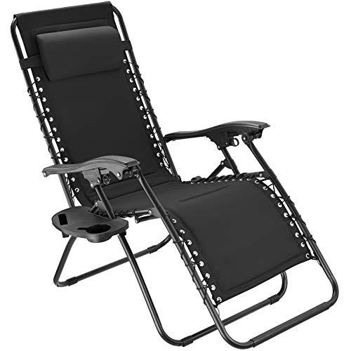TecTake 800885 Chaise Longue Toile Tendue Pliable avec Rembourrage de Tête Amovible - Diverses Couleurs - (Noir)