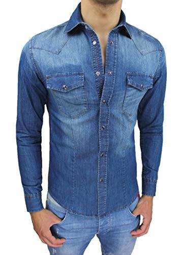 Evoga Camicia di Jeans Uomo Slim Fit Blu Denim Aderente Casual (L)