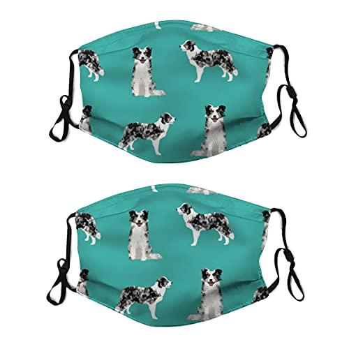 2 mascarillas lavables con lazo ajustable para la oreja, borde Collie azul Merle perro turquesa cubierta de boca reutilizable y transpirable para hombres y mujeres