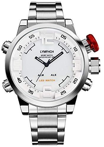 WEIDE WH2309 Herren-Armbanduhr, Militär, Dual-Zeitanzeige, digital, Quarz, mit LED-Datumsanzeige, Edelstahl-Armband, Alarm, Sport-Armbanduhr